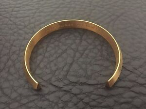 ACNE STUDIOS GOLD PLATED BRUSHED FINISH MENS MINIMALIST BEVELLED BRACELET CUFF