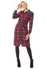 Roman Originals Women Checked Twist Waist 100% Cotton Shirt Dress