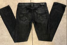Robins Jean Women's gray/black Jeans Sz 26 , black X pocket detail straight leg