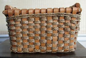 """Woven Wicker Basket w Wooden Handles ~  13.5"""" Long x 8.5"""" Wide x 9"""" High"""