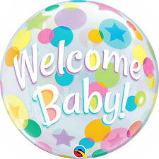 """NEW BABY BALLOON 22"""" COLOURFUL DOTS WELCOME BABY SEE THRU BUBBLE BALLOON"""