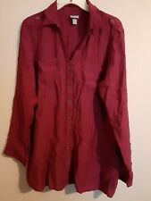 Women's Maroon Size XL Cotton Button-up Shirt By Vanity