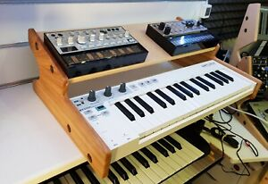 Solid Oak Arturia Keystep with Additional Shelf for Synths And Effects etc