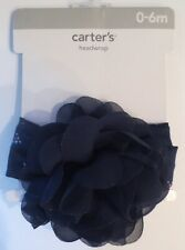 6b77e1489 New Carter's Baby Girls 0-6 mo Headwrap Navy Blue Flower and Headband