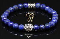 Lapislazuli blau - silberfarbener Löwenkopf - Armband Bracelet Perlenarmband 8mm