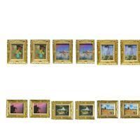 2pcs 1:12 Dollhouse Gold Picture Frame Miniature Daisy Women Decor Accs