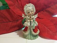 Christmas Angel Figurine with Gifts 1956 Vintage Napco Spaghetti Trim S1693B