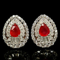 GENUINE NATURAL PADPARADSCHA SAPPHIRE EARRINGS ~ WHITE GOLD/925 STERLING SILVER