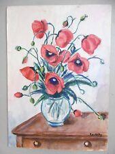 Aquarelle originale Signée Coquelicots fleurs flowers Art original drawing
