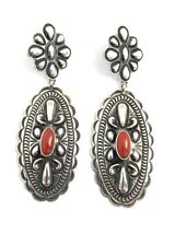 Native American Sterling Silver Navajo Natural Coral Stamp Dangle Earrings