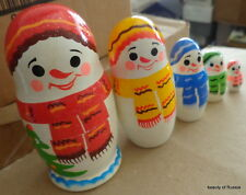 """Christmas snowman  WOOD Hand painted  RUSSIAN NESTING DOLL 5 pcs  4.2"""""""
