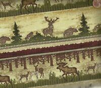 Alpine Woods tan burgundy green wildlife stripe moose bear Benartex fabric