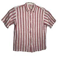 Banana Republic Mens Striped Linen Short Sleeve Button Up Shirt Size Large
