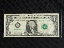 $1 FRN One Dollar Fancy Repeater Note #A 18458154 B, series 2013