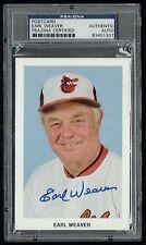 Earl Weaver Autographe Signé Auto Carte Postale Baseball Hall Of Fame PSA