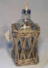 Large Square Wicker Pot W/ Oil Lamp / Lantern