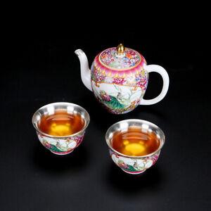 999 sterling silver tea pot 2 matching tea cup color enamel porcelain tea set