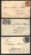 AUSTRALIA VICTORIA 1899-1900s THREE CVRS MELBOURNE N MELBOURNE & NAGAMBIE ONE ON