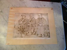 Vintage Willy Seiler Signed Etching Print Titled Resting w/ Cover Sheet