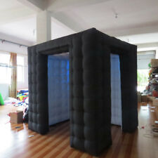Inflatable Cube Photo Booth Tent Portable Two Door Photobooth with LED Lights