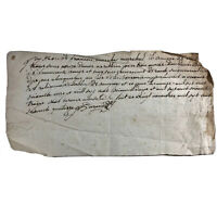 1600-1700's Authentic Antique Manuscript Paper Document European Letter Old Ink