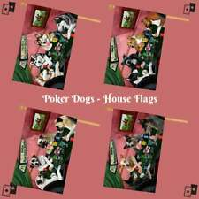 Home of Dogs Cats Playing Poker Pets Decorative House Flag Garden Décor