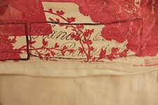 Antique French Toile l'art d'aimer Chef de Piece Bordeaux coverlet