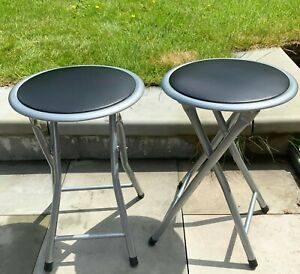 VINTAGE STYLE SMALL FOLDING METAL STOOL CHAIR X 2 CAMPING VW CAMPING GARDEN VGC