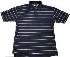 Tommy Hilfiger Polo Shirt Navy Blue White Striped Men XL Crest Logo Vintage