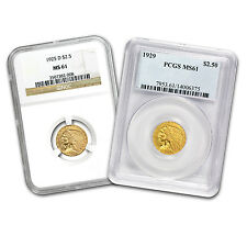 $2.50 Indian Gold Quarter Eagle Coin - Random Year - MS-61 NGC/PCGS