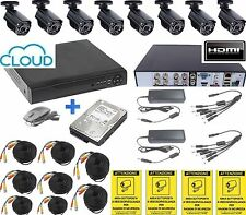 KIT VIDEOSORVEGLIANZA DVR ICLOUD+ HD 1TB+ 8 TELECAMERE+ 8 CAVI 20M + 4 CARTELLI