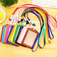Newest 10PCS/Set ID Leather Card Holder Case Badge Necklace Lanyard Portable Hot