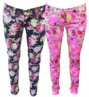 Black/Pink Flower Floral Print Pattern Skinny Slim Fitted Stretch Jeans Trousers