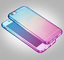 360° Double Colors Clear Silicone Gel Shockproof Case Cover For iPhone 8 6s Plus