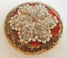 ANTIQUE VICTORIAN EMBOSSED CARD & BEADWORK  PIN CUSHION WHEEL DISK c1870