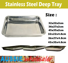 Au Deep Tray Stainless Steel Serving Tray Plate Tray Restaurant Kitchenware