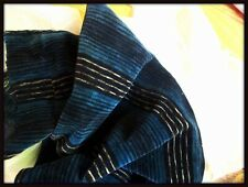 HTF ANTIQUE VICTORIAN TEAL BLUE BLACK STRIPE COTTON VELVET BODICE FABRIC