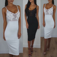 Sexy Womens V Neck  Slim Fit Business Bodycon* Strappy Ladies Midi Party Dresses