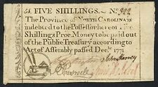 5 Shillings Dec 1771 Providence Of No. Carolina #322 Colonial Currency Bt2760