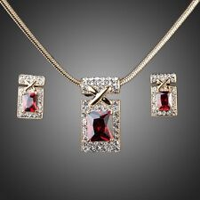 18K Real Gold Plated Dark Red Cubic Zirconia Earrings & Necklace Jewellery Set