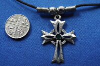 "Celtic Cross Cosmic Pewter Pendant - 16"" Boot Lace Fixed Clasp Cord Necklace"