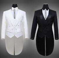 Hot Mens Swallowtail Tailcoat Pant Long Sleeve Costume Suit Jacket Lapel Wedding