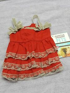 Martha Stewart Pets Size Xs Doggy Ruffle Dress Color Red  For Pets new w tags