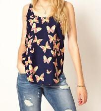 Lady Pretty Butterfly Print Chiffon Blouse Sleeveless T-SHIRT Vest Tank Top