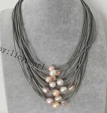 15 Stränge grau Leder Seil & 11-12mm weiß Rosa & lavendel Perlenkette ,17-20inch