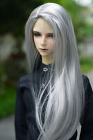 "7-8"" 1/4 BJD Silver Gray Long Wig LUTS Doll SD DZ DOD MSD Soom Fairyland Hair #L"