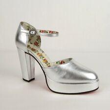 Gucci Metallic Silver Leather Platform Sandal w/Crystal Buckle 37.5 497482 8106