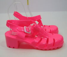 "Neon Pink 2-1/4"" Block Heel Womens jelly Beach Sandals Us Size 11-Eur 42"