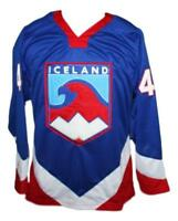 Any Name Number Size Team Iceland Hockey Jersey Blue