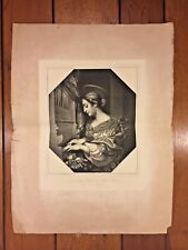 The Holy Cecilia after Carlo Dolci Painting Stamp of Dresden Gallery Late 1800s